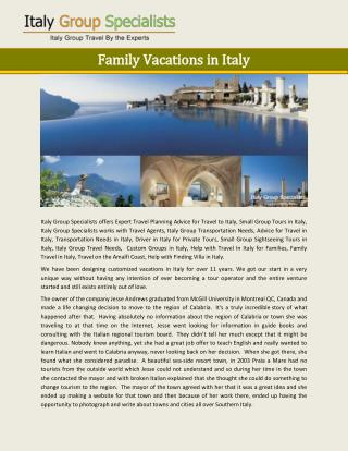 Family Vacations in Italy