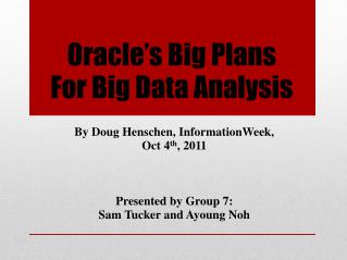 Oracle s Big Plans  For Big Data Analysis