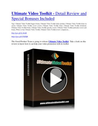 Ultimate Video Toolki Review & HUGE $23800 Bonuses