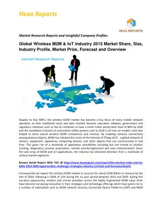 Wireless M2M & IoT Market, Shares, Strategies and Forecasts, Worldwide, 2014 to 2020