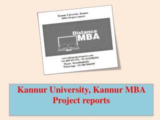 Kannur University, Kannur MBA Project reports