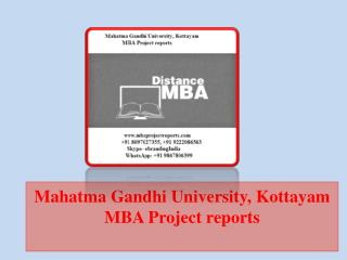 Mahatma Gandhi University, Kottayam MBA Project reports