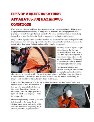 Uses of Airline Breathing Apparatus for Hazardous Conditions