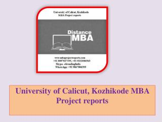 University of Calicut, Kozhikode MBA Project reports