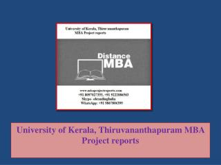 University of Kerala, Thiruvananthapuram MBA Project reports