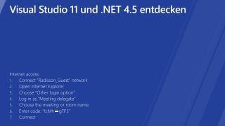 Visual Studio 11 und  4.5 entdecken