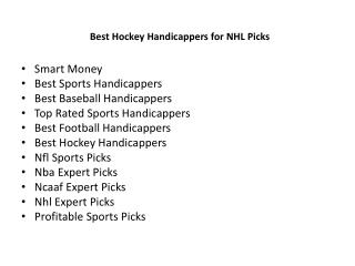 Best Hockey Handicappers for NHL Picks