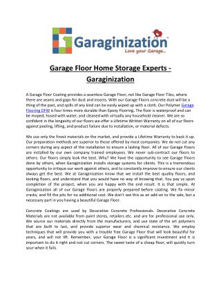Garage Floor Home Storage Experts - Garaginization