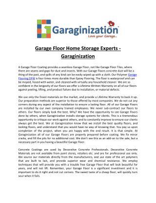 Garage Floor Home Storage Experts - Garaginization