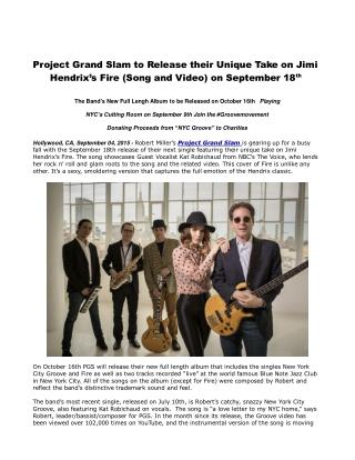 Project Grand Slam to Release their Unique Take on Jimi Hendrix's Fire (Song and Video) on September 18th
