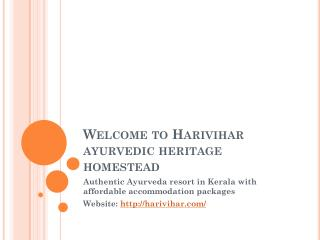 Ayurvedic Resort in Kerala - the HariVihar