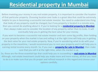 Residential property in Mumbai