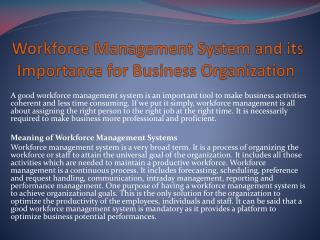 Workforce Management System and its Importance for Business Organization
