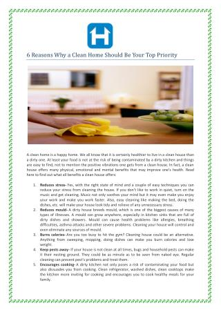 6 Reasons Why a Clean Home Should Be Your Top Priority
