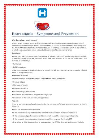 Heart attacks Symptoms and Prevention