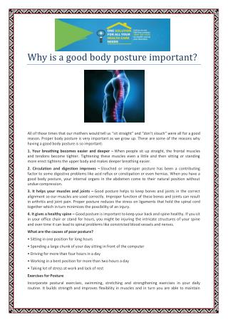 Why is a good body posture important