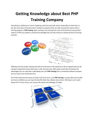 Getting Knowledge about Best PHP Training Company