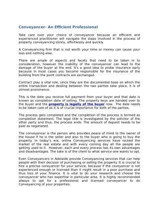 Conveyancer- An Efficient Professional