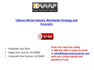 Lithium Metal Market 2015 Analysis, Demand and Insights