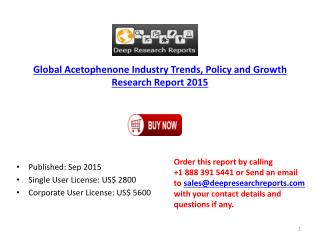 Global Acetophenone Market Development Trends Forecasts 2020
