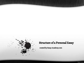 Structure of a Personal Essay