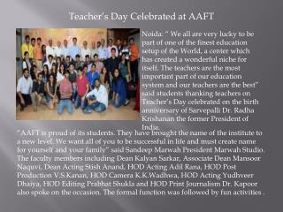 Teacher's Day Celebrated at AAFT