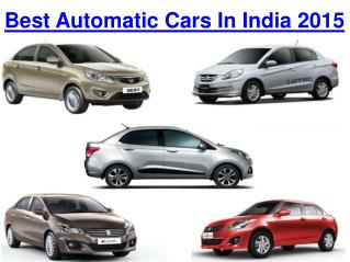 Find the Best Automatic Cars in India 2015