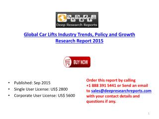 2015 Global Car Lifts Industry Manufacturers Analysis Report