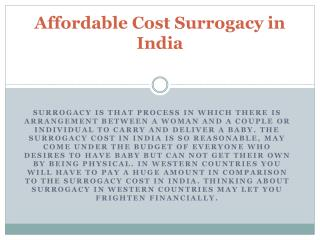 Affordable Cost Surrogacy in India
