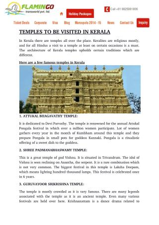 TEMPLES TO BE VISITED IN KERALA