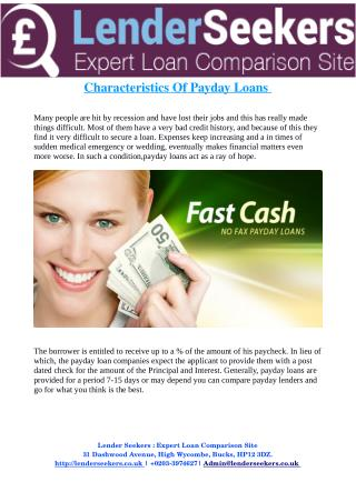 Characteristics Of Payday Loans