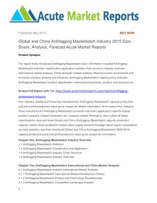Global and China Antifogging Masterbatch Industry 2015 Size, Share, Analysis, Forecast Acute Market Reports
