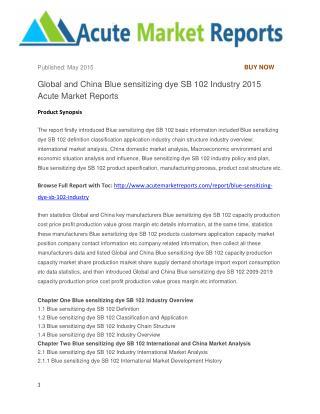Global and China Blue sensitizing dye SB 102 Industry 2015 Acute Market Reports