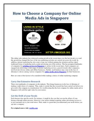 How to Choose a Company for Online Media Ads in Singapore
