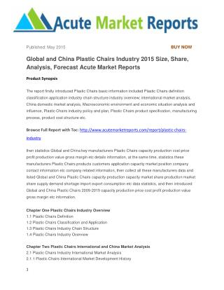 Global and China Plastic Chairs Industry 2015 Size, Share, Analysis, Forecast Acute Market Reports