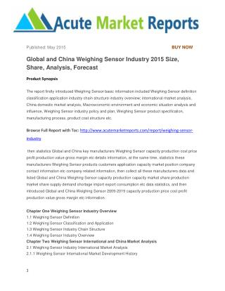 Global and China Weighing Sensor Industry 2015 Size, Share, Analysis, Forecast