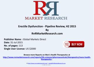 Erectile Dysfunction Pipeline Therapeutics Development Review H2 2015