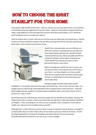How to Choose the Right Stairlift for Your Home