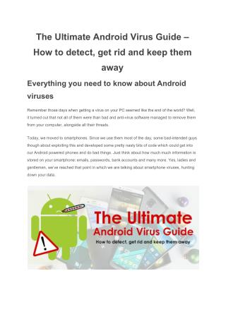 The Ultimate Android Virus Guide � How to detect, get rid and keep them away