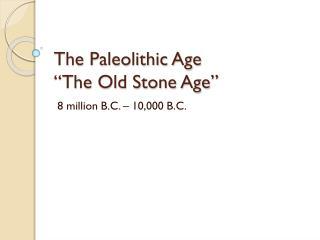Mayer - World History - Paleolithic Age