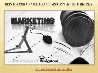 Finance assignments help