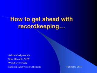 How to get ahead with recordkeeping