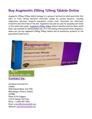 Buy Augmentin 250mg 125mg Tablets Online