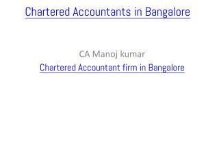 Chartered Accountants in Bangalore