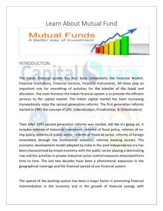 Learn About Mutual Fund : Wide variety of Mutual Fund