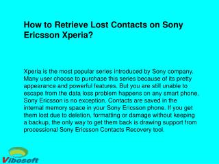 How to Recover Deleted Contacts from Sony Ericsson Xperia