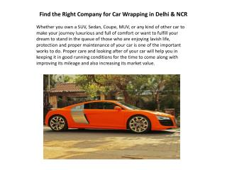 Find the Right Company for Car Wrapping in Delhi & NCR