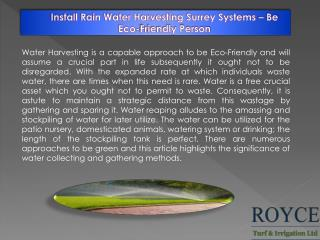 Install Rain Water Harvesting Surrey Systems � Be Eco-Friendly Person
