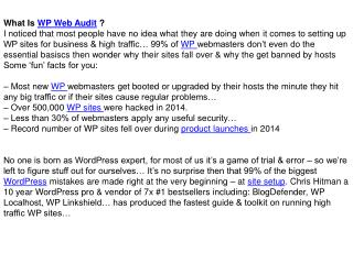 WP Web Audit Review and Bonuses