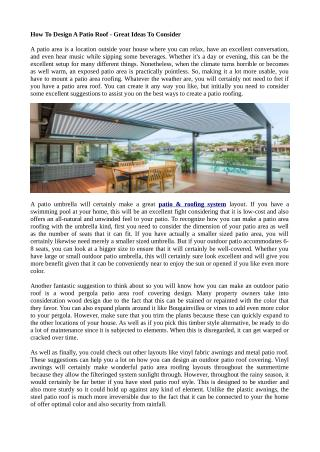 How To Design A Patio Roof - Great Ideas To Consider